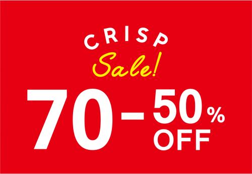 【Crisp各店】 SUMMER SALE 70%~50%OFF!